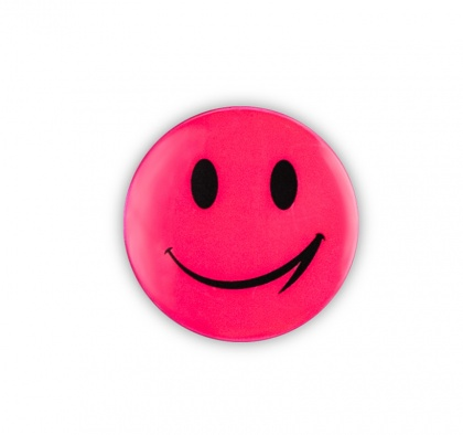 Reflective Sticker (pink smiley, pack of 5)