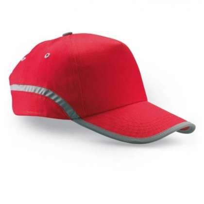 Baseball Cap with Reflective Stripe (red)