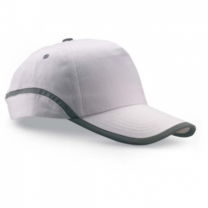 Baseball Cap with Reflective Stripe (white)