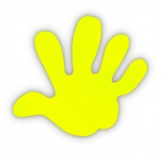 Reflective sticker – hand, yellow, pack of 5