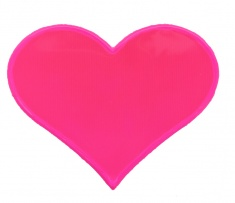 Reflective sticker, heart, pink, pack of 5