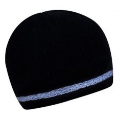 Two layer winter cap with reflective stripe - BLACK