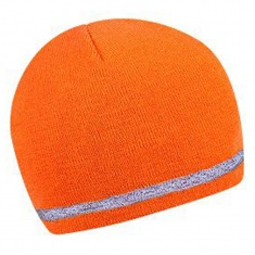 Two layer winter cap with reflective stripe - ORANGE