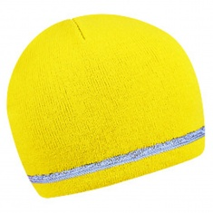 Two-layer winter cap with reflective stripe - YELLOW