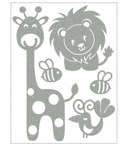 Reflective Iron-On Motifs (giraffe and lion)