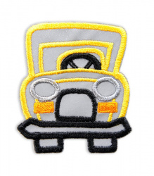 Reflective Iron-On Patch (yellow car)