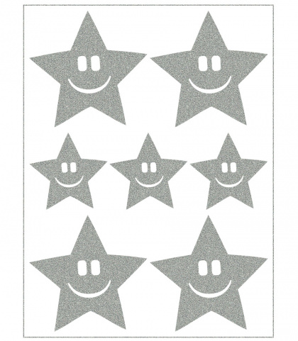 Reflective Iron-On Motifs (smiling stars)