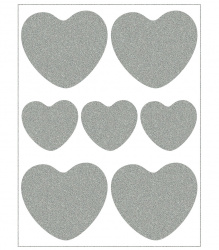 Reflective Iron-On Motifs (hearts)