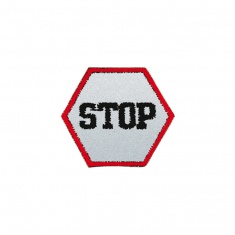 Reflective Iron-On Patch (stop)