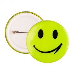 Reflective Pin Badge (yellow smiley)