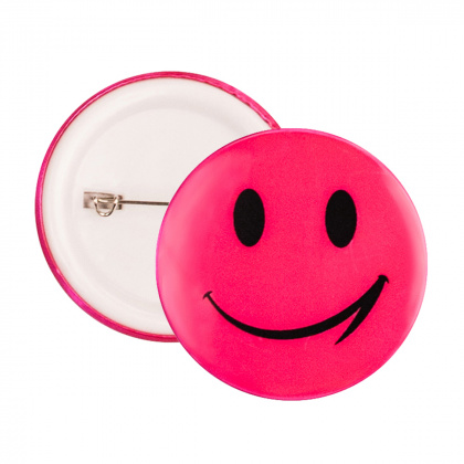 Reflective Pin Badge (pink smiley)