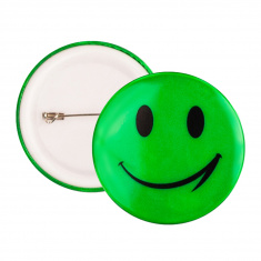Reflective Pin Badge (green smiley)
