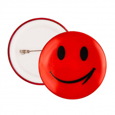 Reflective Pin Badge (orange smiley)