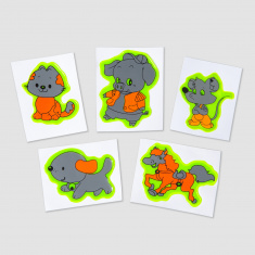 Reflective Sticker (animals I pack of 5)